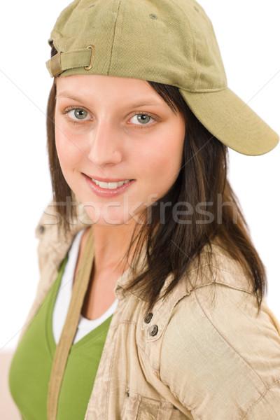 Diák tinédzser lány baseballsapka pózol néz Stock fotó © CandyboxPhoto