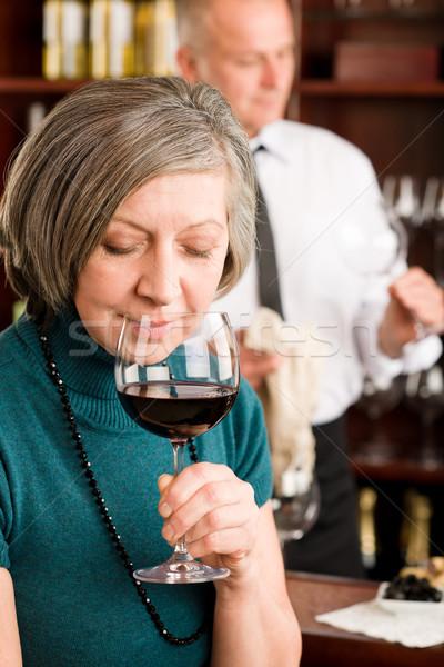 Kıdemli kadın tat şarap kadehi koku Stok fotoğraf © CandyboxPhoto