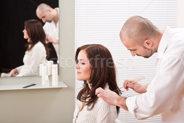 Foto stock: Profesional · peluquero · peine · cliente · salón · masculina