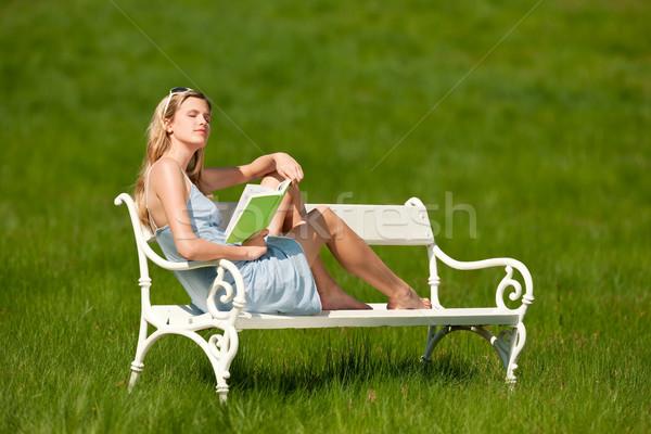 Stock fotó: Tavasz · nyár · fiatal · nő · megnyugtató · legelő · szőke