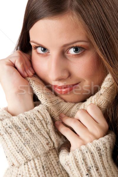 Stock photo: Portrait of beautiful young woman wearing turtleneck