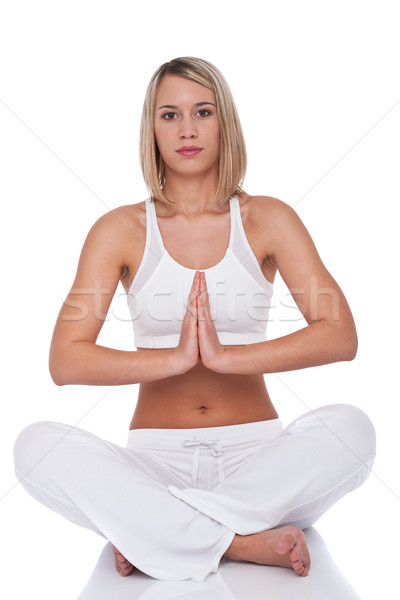 Stock photo: Fitness series - Attractive woman in yoga position