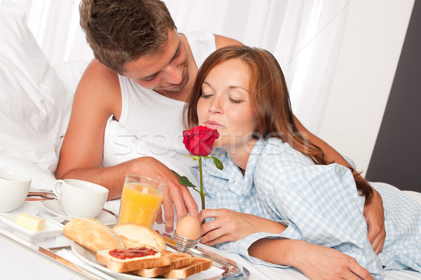 Happy Man And Woman Having Breakfast In Bed Together Stock -7099