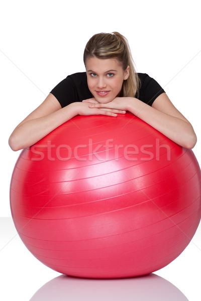 Foto d'archivio: Fitness · esercizio · palla · bianco · giovani