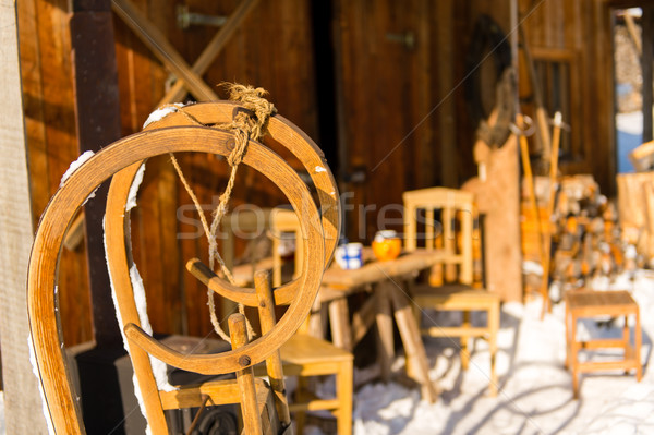 Wooden sledge outside winter snow cottage Stock photo © CandyboxPhoto