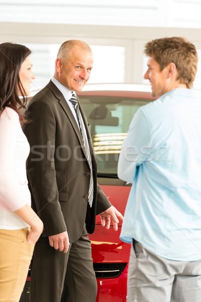 Portré autókereskedő vásárlók beszél család pár Stock fotó © CandyboxPhoto