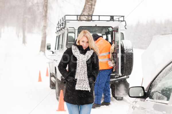 Mechanic helping woman with broken car snow Stock photo © CandyboxPhoto