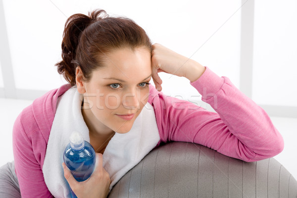 Stock photo: Fitness woman relax water bottle ball sportive