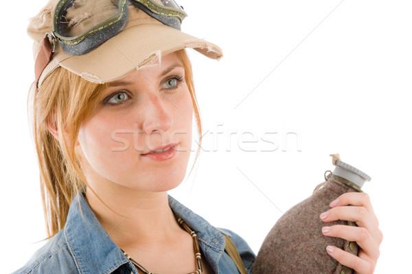 Kaland fiatal nő pilóta védőszemüveg tart üveg Stock fotó © CandyboxPhoto