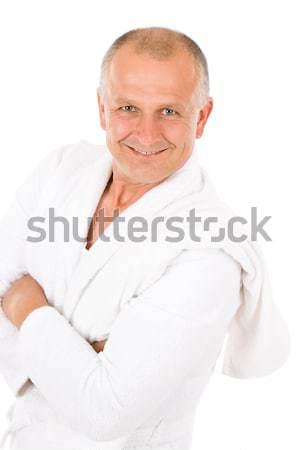 男性 化粧品 成熟した男 白 バスローブ 肖像 ストックフォト © CandyboxPhoto