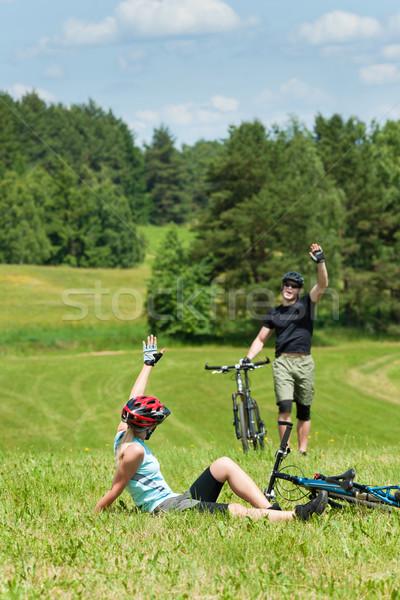 Stock fotó: Sport · hegyikerékpározás · pár · üdvözlet · mezők · boldog