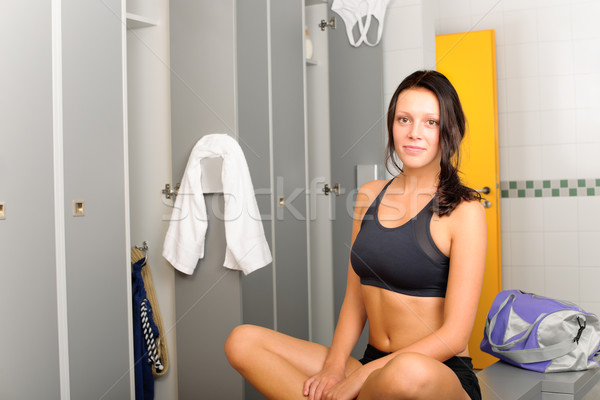 Locker room young sportive woman sitting smiling Stock photo © CandyboxPhoto