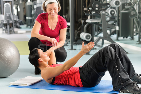 Stock fotó: Személyi · edző · előadás · abdominális · testmozgás · fitnessz · központ