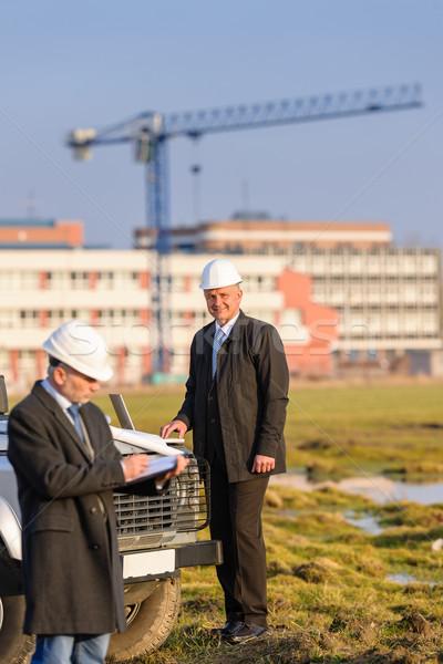 Stock fotó: építész · férfi · gyártmány · jegyzetek · építkezés · férfi