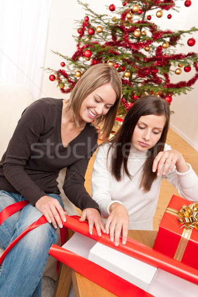 Foto stock: Dos · mujer · Navidad · presente · árbol