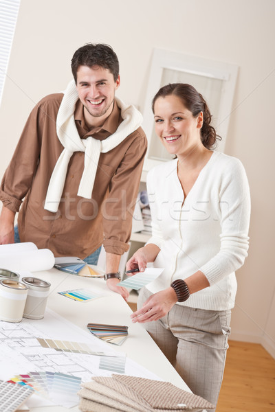 Kettő belsőépítész dolgozik iroda szín konzerv Stock fotó © CandyboxPhoto