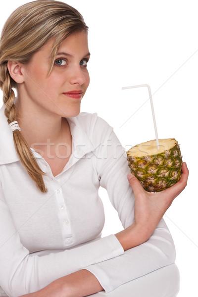 Stok fotoğraf: Kadın · ananas · beyaz · kız