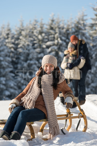 Young woman sitting winter wooden sledge Stock photo © CandyboxPhoto