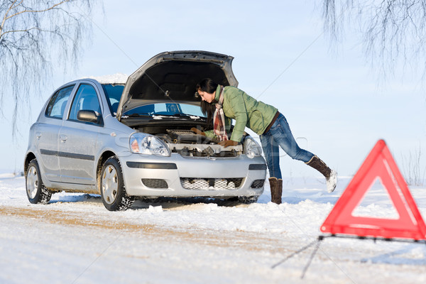 Stock photo: Winter car breakdown - woman repair motor