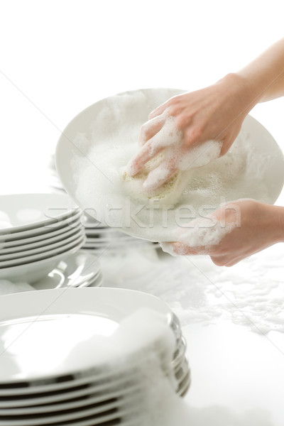Washing dishes - hands with gloves in kitchen Stock photo © CandyboxPhoto
