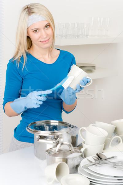 Stock fotó: Modern · konyha · boldog · nő · mosogatás · házimunka
