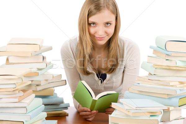 Foto stock: Estudiante · adolescente · mujer · leer · libro · retrato