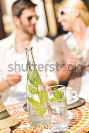 Restaurant terrasse italien espresso café couple Photo stock © CandyboxPhoto