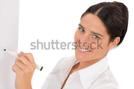 Happy businesswoman writing at empty flip chart Stock photo © CandyboxPhoto