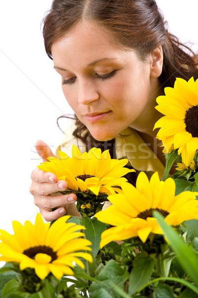 Сток-фото: портрет · красивая · женщина · подсолнухи · белый · цветок · подсолнечника