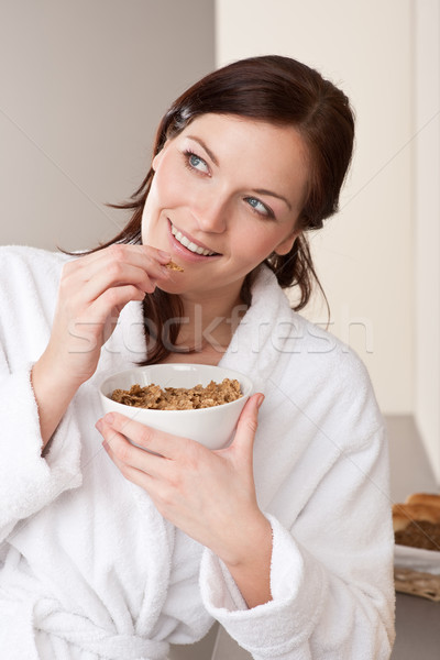 幸せ 女性 バスローブ コーンフレーク 朝食 ストックフォト © CandyboxPhoto