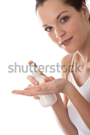 Ciało opieki młoda kobieta butelki mleczko kosmetyczne kobieta Zdjęcia stock © CandyboxPhoto