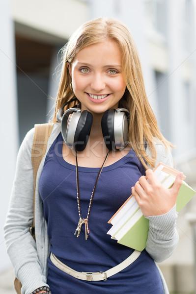 Fiatal tini diák lány könyvek fejhallgató Stock fotó © CandyboxPhoto