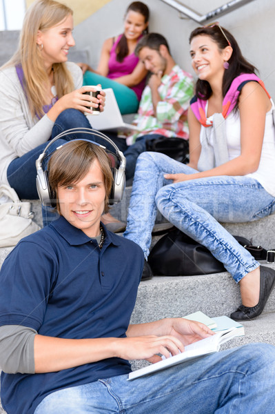 Students sitting on high-school stairs in break Stock photo © CandyboxPhoto