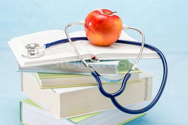 Foto stock: Estetoscopio · manzana · médicos · salud · médico