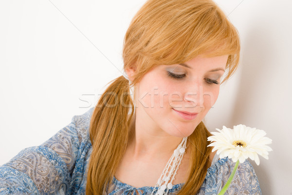 Romantic young woman hold gerbera daisy Stock photo © CandyboxPhoto