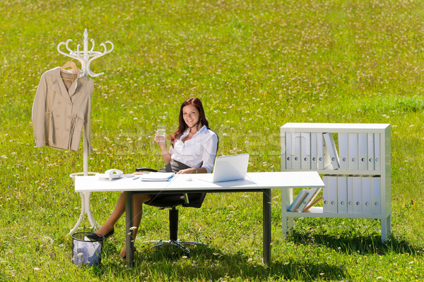 Foto stock: Empresária · ensolarado · prado · relaxar · natureza · escritório