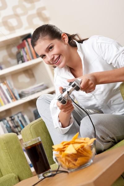 Foto stock: Estudiantes · femenino · adolescente · jugando · videojuegos