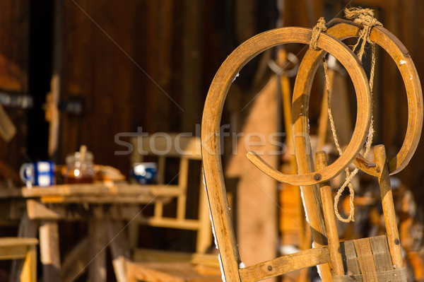 Wooden sledge outside winter cottage snow Stock photo © CandyboxPhoto