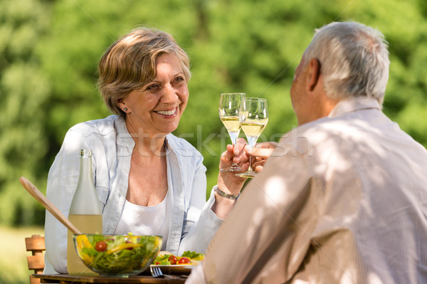 Happy senior citizens clinking glasses Stock photo © CandyboxPhoto
