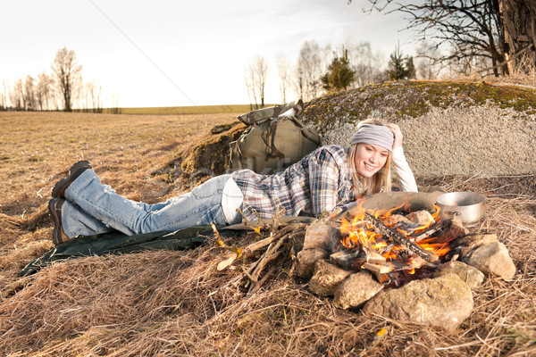 Campfire hiking woman with backpack sleep country Stock photo © CandyboxPhoto