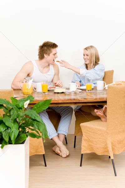 Stockfoto: Ontbijt · gelukkig · paar · vrouw · man · toast