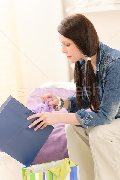 Stockfoto: Jonge · gelukkig · student · meisje · aantrekkelijk · meisje