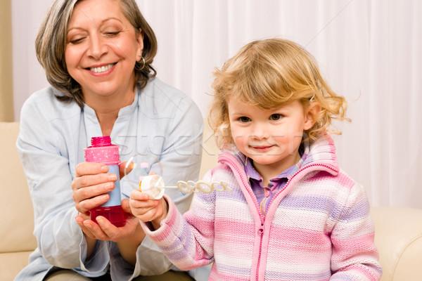 девочку бабушки играть пузыря воздуходувка мало Сток-фото © CandyboxPhoto