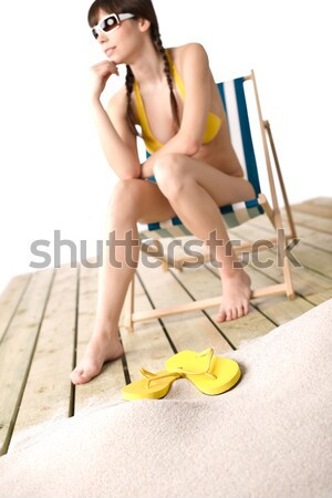 Beach - Young woman in bikini apply suntan lotion Stock photo © CandyboxPhoto