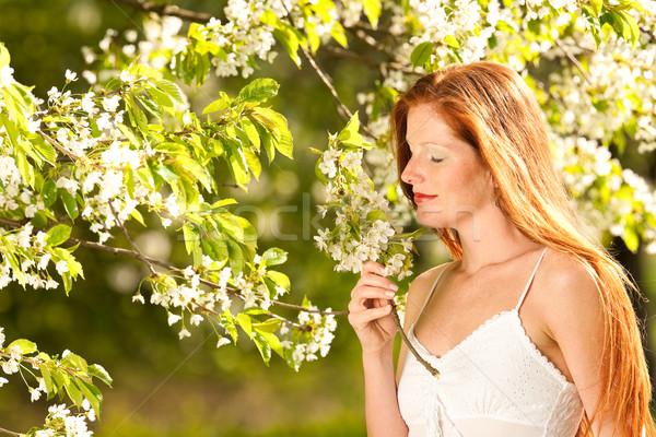 Fiatal nő élvezi tavasz virág fa vörös haj Stock fotó © CandyboxPhoto