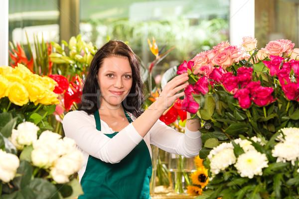 Heureux jeune femme fleurs fleuriste magasin coloré Photo stock © CandyboxPhoto