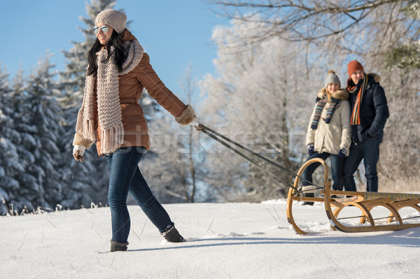 Young woman pulling winter sledge snow countryside Stock photo © CandyboxPhoto