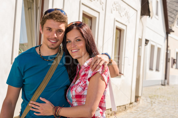 Boldog szeretet pár átkarol mosolyog város Stock fotó © CandyboxPhoto