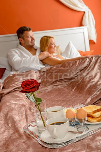 ストックフォト: ロマンチックな · 朝食 · サービス · を見て