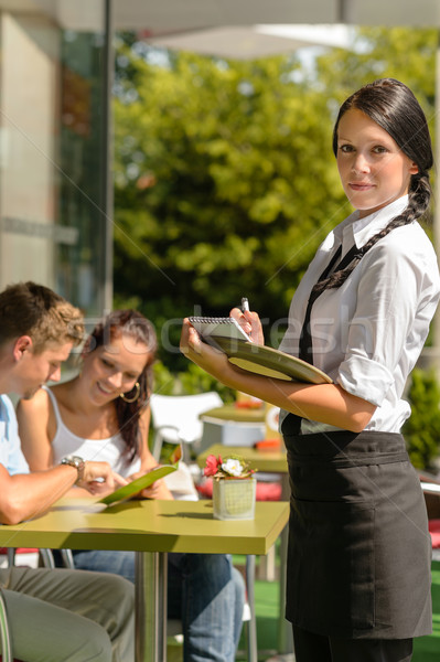 Waitress waiting for clients to decide order Stock photo © CandyboxPhoto